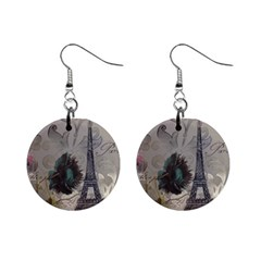 Floral Vintage Paris Eiffel Tower Art Mini Button Earrings