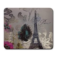 Floral Vintage Paris Eiffel Tower Art Large Mouse Pad (rectangle)