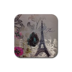 Floral Vintage Paris Eiffel Tower Art Drink Coasters 4 Pack (Square)