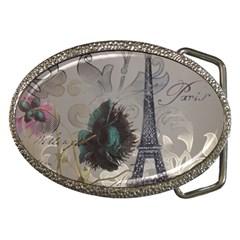Floral Vintage Paris Eiffel Tower Art Belt Buckle (Oval)