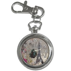 Floral Vintage Paris Eiffel Tower Art Key Chain & Watch