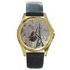 Floral Vintage Paris Eiffel Tower Art Round Metal Watch (Gold Rim)