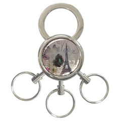 Floral Vintage Paris Eiffel Tower Art 3-Ring Key Chain
