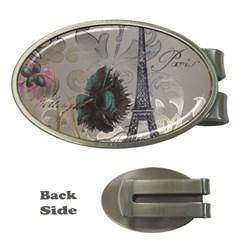 Floral Vintage Paris Eiffel Tower Art Money Clip (oval)