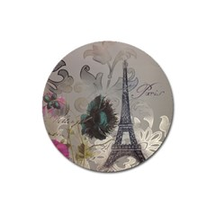 Floral Vintage Paris Eiffel Tower Art Magnet 3  (Round)