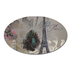 Floral Vintage Paris Eiffel Tower Art Magnet (oval)