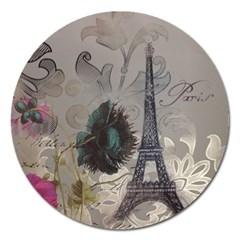 Floral Vintage Paris Eiffel Tower Art Magnet 5  (round)