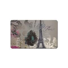 Floral Vintage Paris Eiffel Tower Art Magnet (Name Card)