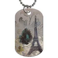Floral Vintage Paris Eiffel Tower Art Dog Tag (one Sided)