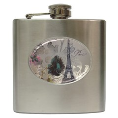 Floral Vintage Paris Eiffel Tower Art Hip Flask