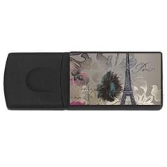 Floral Vintage Paris Eiffel Tower Art 1GB USB Flash Drive (Rectangle)