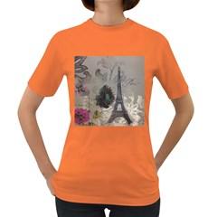 Floral Vintage Paris Eiffel Tower Art Womens' T-shirt (Colored)