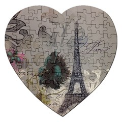 Floral Vintage Paris Eiffel Tower Art Jigsaw Puzzle (Heart)