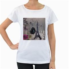 Floral Vintage Paris Eiffel Tower Art Womens' Maternity T-shirt (White)