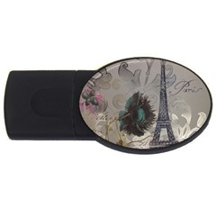 Floral Vintage Paris Eiffel Tower Art 4GB USB Flash Drive (Oval)