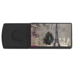 Floral Vintage Paris Eiffel Tower Art 4gb Usb Flash Drive (rectangle)