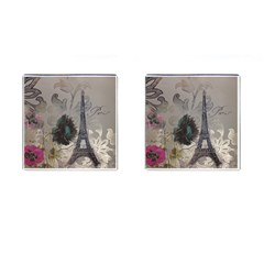 Floral Vintage Paris Eiffel Tower Art Cufflinks (Square)