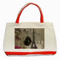 Floral Vintage Paris Eiffel Tower Art Classic Tote Bag (red)