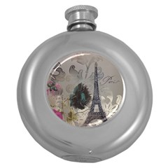Floral Vintage Paris Eiffel Tower Art Hip Flask (Round)