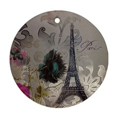 Floral Vintage Paris Eiffel Tower Art Round Ornament (two Sides)