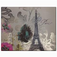 Floral Vintage Paris Eiffel Tower Art Canvas 8  x 10  (Unframed)