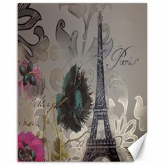 Floral Vintage Paris Eiffel Tower Art Canvas 16  x 20  (Unframed)