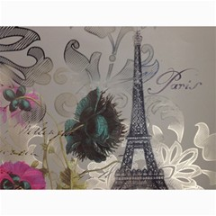 Floral Vintage Paris Eiffel Tower Art Canvas 36  x 48  (Unframed)