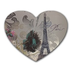 Floral Vintage Paris Eiffel Tower Art Mouse Pad (Heart)