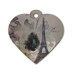 Floral Vintage Paris Eiffel Tower Art Dog Tag Heart (One Sided)
