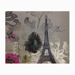 Floral Vintage Paris Eiffel Tower Art Glasses Cloth (small, Two Sided)