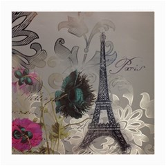 Floral Vintage Paris Eiffel Tower Art Glasses Cloth (medium, Two Sided)