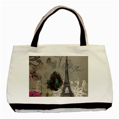 Floral Vintage Paris Eiffel Tower Art Twin-sided Black Tote Bag