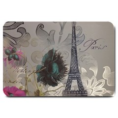Floral Vintage Paris Eiffel Tower Art Large Door Mat