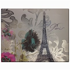 Floral Vintage Paris Eiffel Tower Art Canvas 11  x 14  (Unframed)