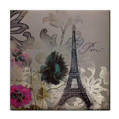 Floral Vintage Paris Eiffel Tower Art Face Towel