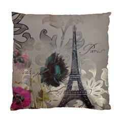 Floral Vintage Paris Eiffel Tower Art Cushion Case (Single Sided)