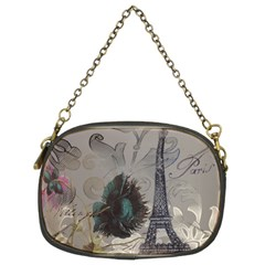 Floral Vintage Paris Eiffel Tower Art Chain Purse (Two Sided)