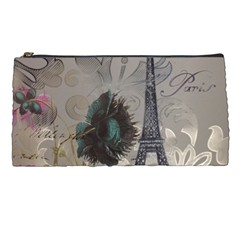 Floral Vintage Paris Eiffel Tower Art Pencil Case