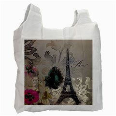 Floral Vintage Paris Eiffel Tower Art Recycle Bag (One Side)