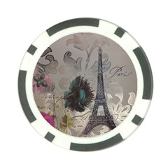 Floral Vintage Paris Eiffel Tower Art Poker Chip 10 Pack