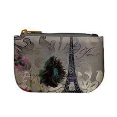Floral Vintage Paris Eiffel Tower Art Coin Change Purse