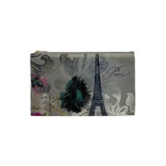 Floral Vintage Paris Eiffel Tower Art Cosmetic Bag (Small)