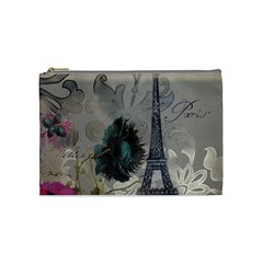 Floral Vintage Paris Eiffel Tower Art Cosmetic Bag (Medium)