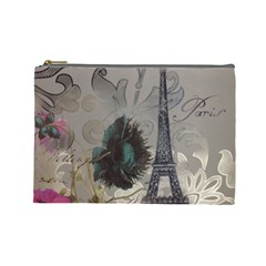 Floral Vintage Paris Eiffel Tower Art Cosmetic Bag (Large)