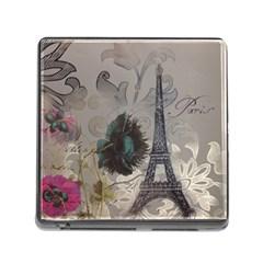 Floral Vintage Paris Eiffel Tower Art Memory Card Reader with Storage (Square)