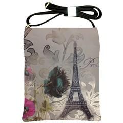 Floral Vintage Paris Eiffel Tower Art Shoulder Sling Bag
