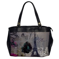 Floral Vintage Paris Eiffel Tower Art Oversize Office Handbag (one Side)