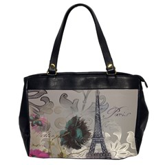 Floral Vintage Paris Eiffel Tower Art Oversize Office Handbag (Two Sides)