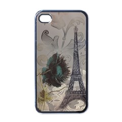 Floral Vintage Paris Eiffel Tower Art Apple Iphone 4 Case (black)