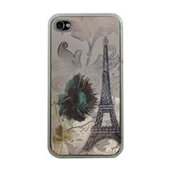 Floral Vintage Paris Eiffel Tower Art Apple iPhone 4 Case (Clear)